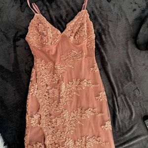 Long Lace Pink Dress